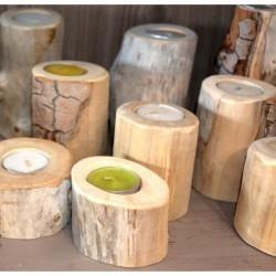 Bougeoir en bois flotté