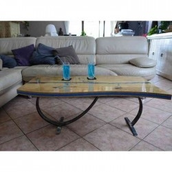 table basse bois métal lichtenberg résine
