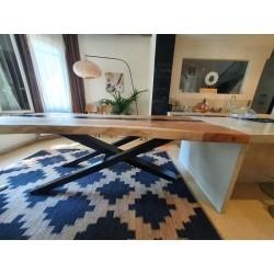 Table bois de Suar et métal