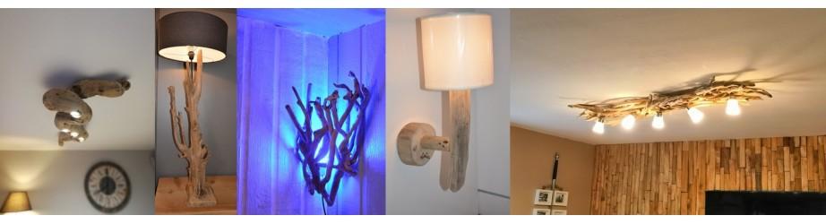 Luminaires en bois flotté - éclairages intérieurs bois naturel